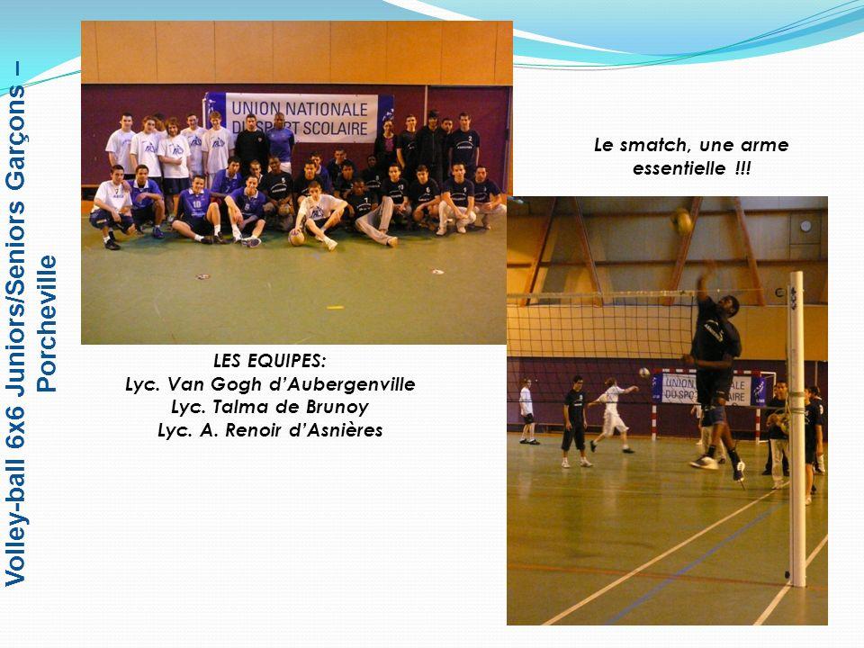 Volley-ball 6x6 Juniors/Seniors Garçons – Porcheville Lincontournable « échauffement » avant la rencontre Tirage au sort par le Jeune Arbitre UNSS entre les capitaines des équipes du lyc.