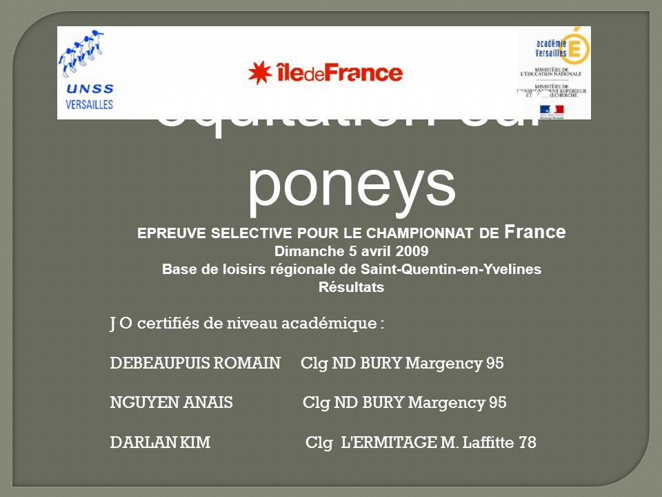 equitation sur poneys EPREUVE SELECTIVE POUR LE CHAMPIONNAT DE France Dimanche 5 avril 2009 Base de loisirs régionale de Saint-Quentin-en-Yvelines Résultats J O certifiés de niveau académique : DEBEAUPUIS ROMAIN Clg ND BURY Margency 95 NGUYEN ANAIS Clg ND BURY Margency 95 DARLAN KIM Clg L ERMITAGE M.