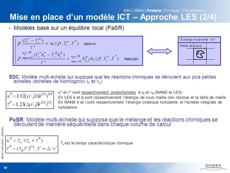 MOULE DEFA/PRA - JDD 2011 10 Mise en place dun modèle ICT – Approche LES (2/4) Modèles basé sur un équilibre local (PaSR) EDC: Modèle multi-échelle qu