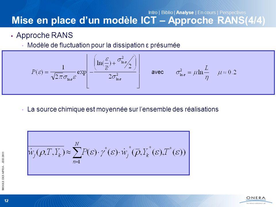 MOULE DEFA/PRA - JDD 2011 12 Mise en place dun modèle ICT – Approche RANS(4/4) Approche RANS Modèle de fluctuation pour la dissipation ε présumée La s