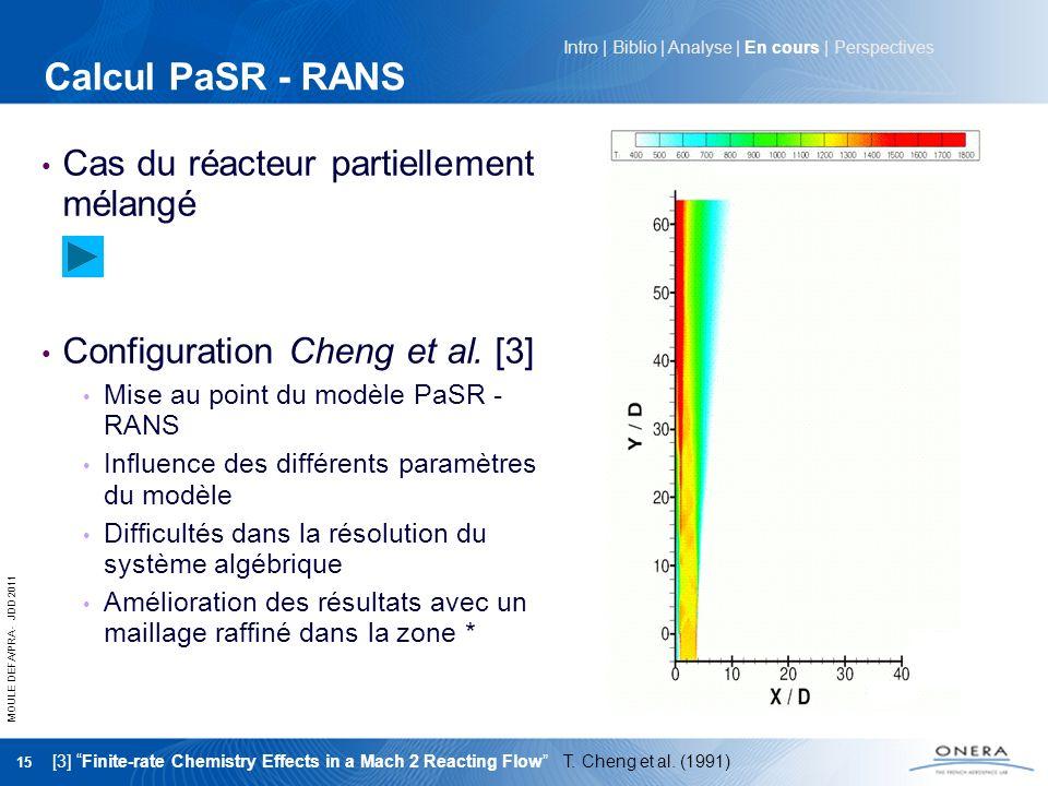 MOULE DEFA/PRA - JDD 2011 15 Calcul PaSR - RANS Cas du réacteur partiellement mélangé Configuration Cheng et al. [3] Mise au point du modèle PaSR - RA