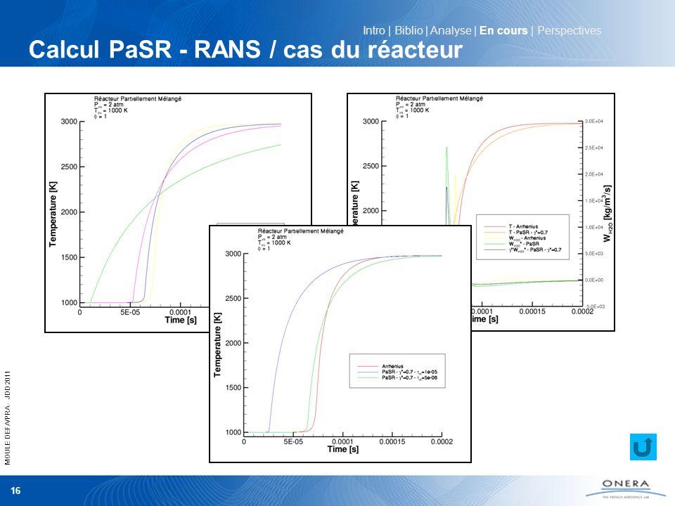 MOULE DEFA/PRA - JDD 2011 16 Calcul PaSR - RANS / cas du réacteur Intro | Biblio | Analyse | En cours | Perspectives