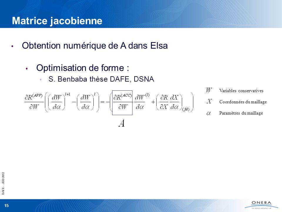 DAFE - JDD 2012 15 Matrice jacobienne Obtention numérique de A dans Elsa Optimisation de forme : S. Benbaba thèse DAFE, DSNA Coordonnées du maillage P