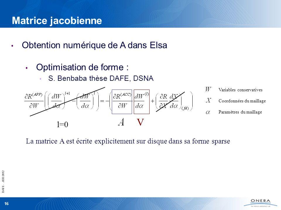 DAFE - JDD 2012 16 Matrice jacobienne Obtention numérique de A dans Elsa Optimisation de forme : S. Benbaba thèse DAFE, DSNA Coordonnées du maillage P