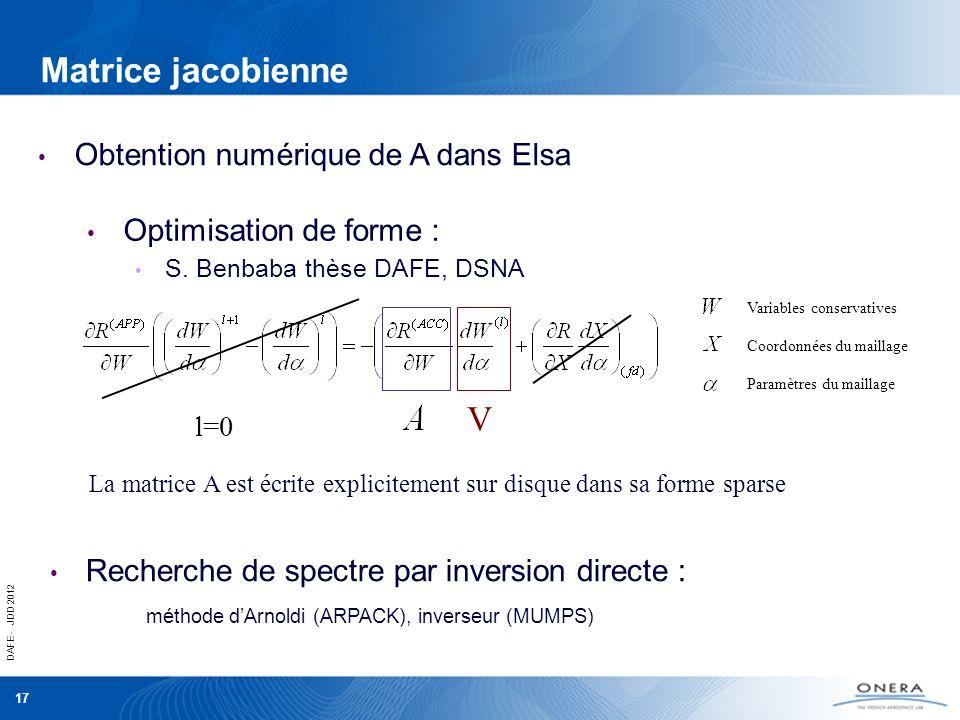 DAFE - JDD 2012 17 Matrice jacobienne Obtention numérique de A dans Elsa Recherche de spectre par inversion directe : méthode dArnoldi (ARPACK), inver