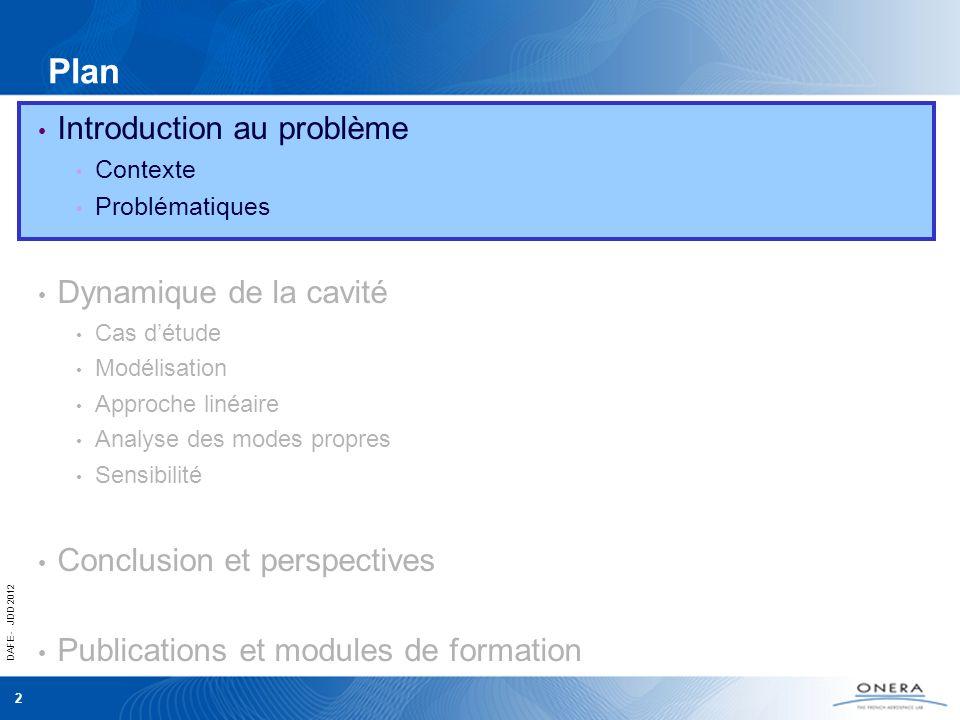 DAFE - JDD 2012 2 Introduction au problème Contexte Problématiques Dynamique de la cavité Cas détude Modélisation Approche linéaire Analyse des modes