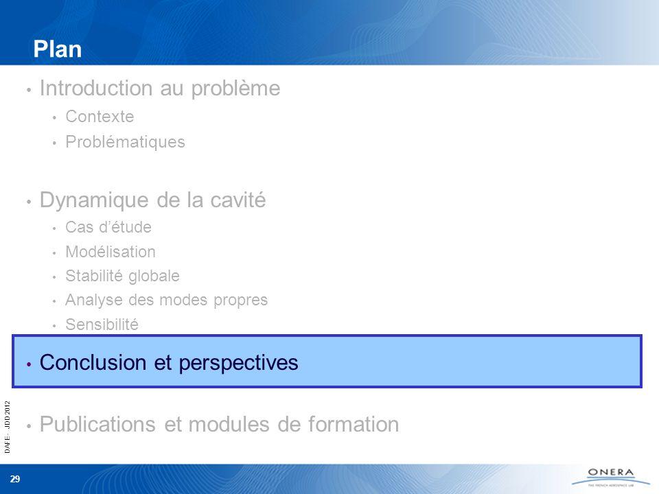 DAFE - JDD 2012 29 Plan Introduction au problème Contexte Problématiques Dynamique de la cavité Cas détude Modélisation Stabilité globale Analyse des