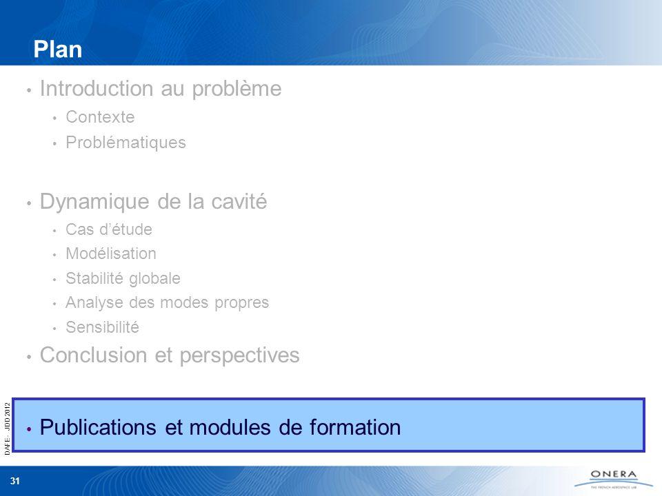 DAFE - JDD 2012 31 Plan Introduction au problème Contexte Problématiques Dynamique de la cavité Cas détude Modélisation Stabilité globale Analyse des