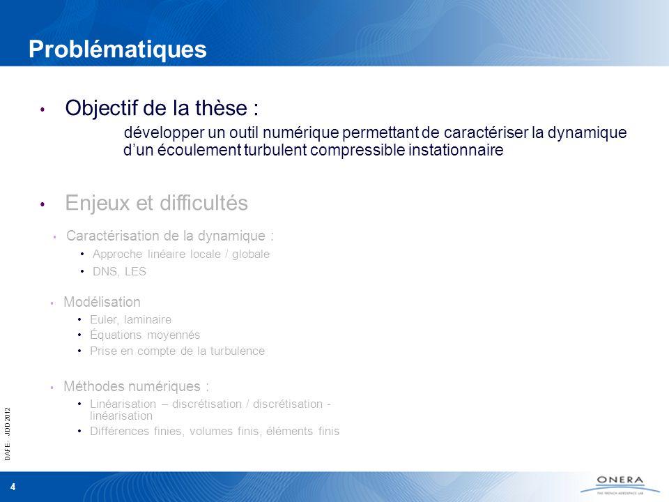 DAFE - JDD 2012 5 Problématiques Caractérisation de la dynamique : DNS, LES Approche linéaire locale / globale Objectif de la thèse : développer un outil numérique permettant de caractériser la dynamique dun écoulement turbulent compressible instationnaire Enjeux et difficultés Approche linéaire, Stabilité globale Modélisation Euler, laminaire Équations moyennées (RANS) Turbulence Méthodes numériques : Différences finies, volumes finis, éléments finis Linéarisation – discrétisation / discrétisation - linéarisation