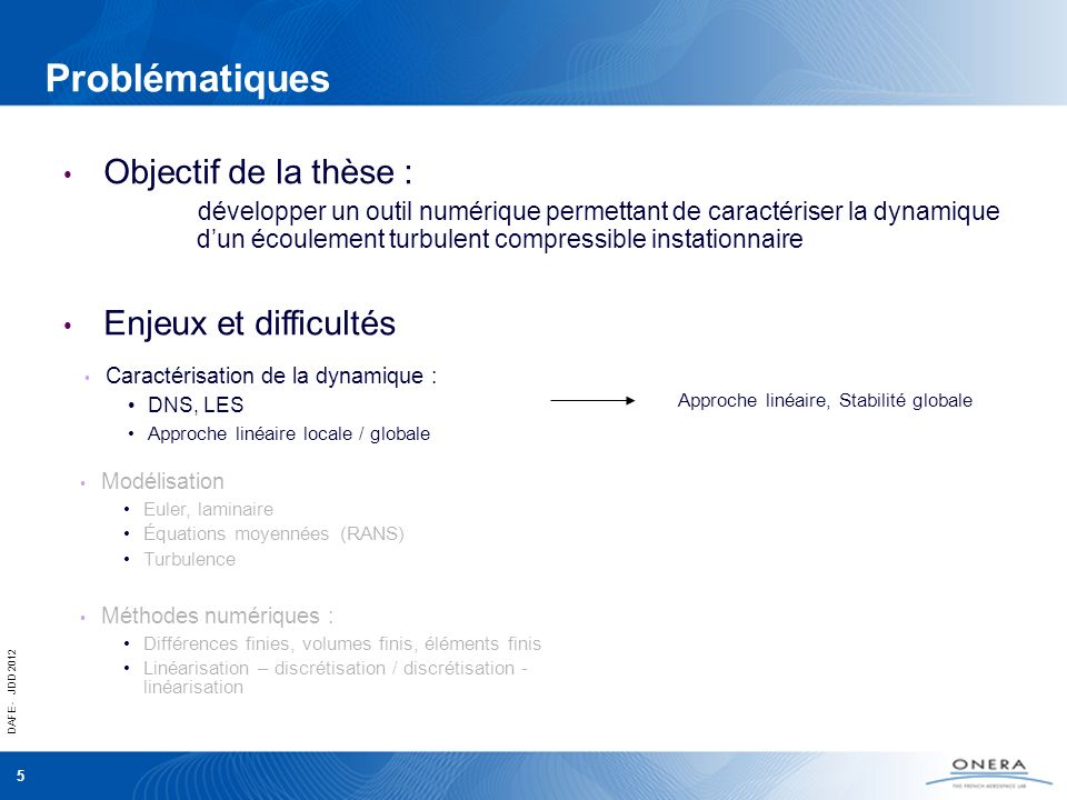 DAFE - JDD 2012 6 Problématiques Caractérisation de la dynamique : DNS, LES Approche linéaire locale / globale Objectif de la thèse : développer un outil numérique permettant de caractériser la dynamique dun écoulement turbulent compressible instationnaire Enjeux et difficultés Approche linéaire, Stabilité globale Équations moyennées, modèle turbulent Modélisation Euler, laminaire Équations moyennées (RANS) Turbulence Méthodes numériques : Différences finies, volumes finis, éléments finis Linéarisation – discrétisation / discrétisation - linéarisation