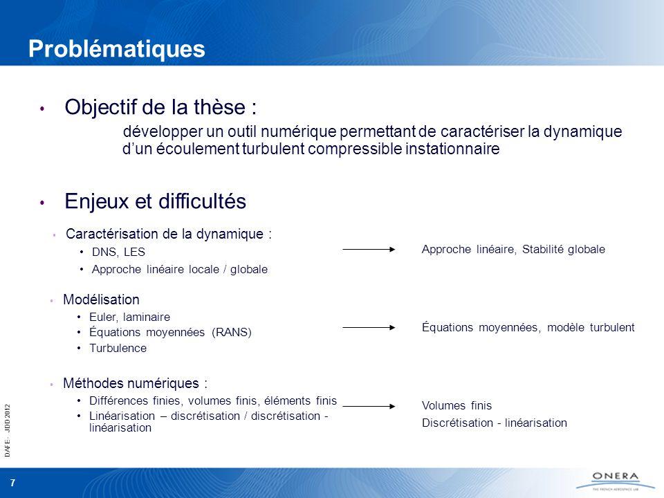 DAFE - JDD 2012 7 Problématiques Caractérisation de la dynamique : DNS, LES Approche linéaire locale / globale Objectif de la thèse : développer un ou