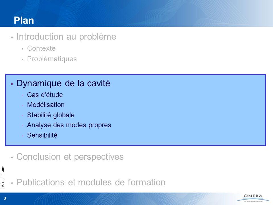 DAFE - JDD 2012 8 Plan Introduction au problème Contexte Problématiques Dynamique de la cavité Cas détude Modélisation Stabilité globale Analyse des m