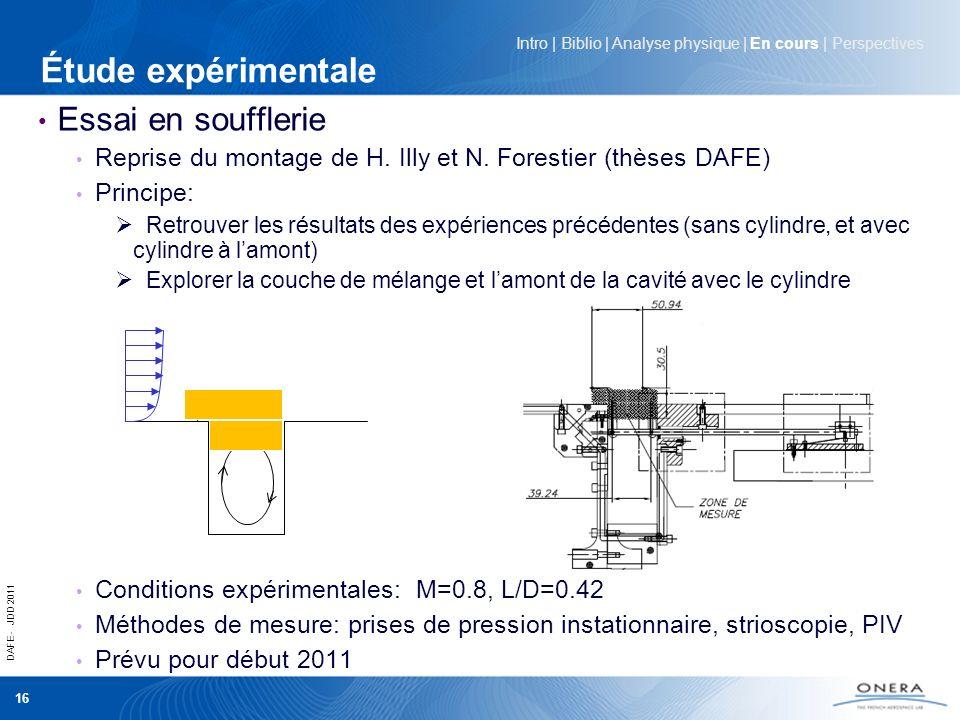 DAFE - JDD 2011 16 Essai en soufflerie Reprise du montage de H. Illy et N. Forestier (thèses DAFE) Principe: Retrouver les résultats des expériences p
