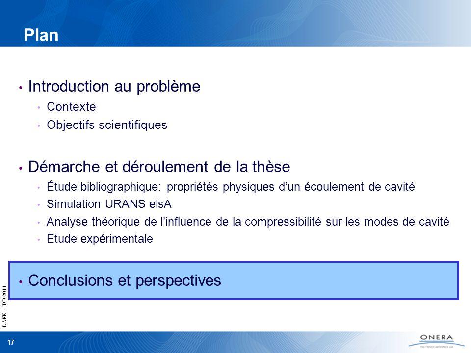 DAFE - JDD 2011 17 DAFE - JDD 2011 Plan Introduction au problème Contexte Objectifs scientifiques Démarche et déroulement de la thèse Étude bibliograp