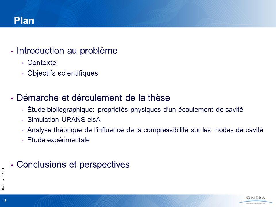 DAFE - JDD 2011 2 Plan Introduction au problème Contexte Objectifs scientifiques Démarche et déroulement de la thèse Étude bibliographique: propriétés