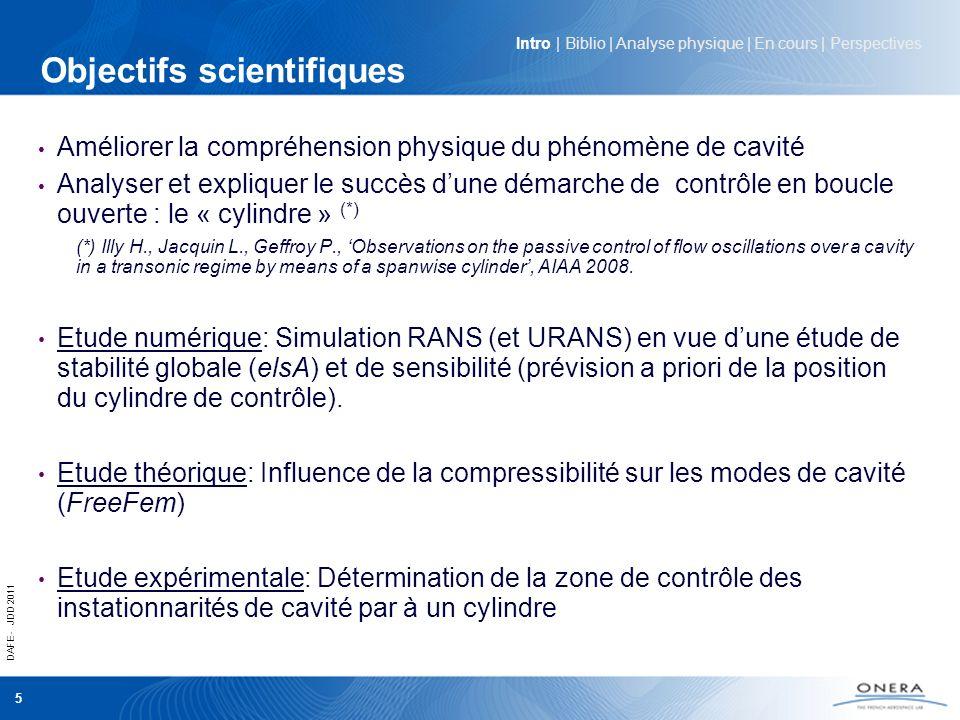 DAFE - JDD 2011 5 Objectifs scientifiques Améliorer la compréhension physique du phénomène de cavité Analyser et expliquer le succès dune démarche de