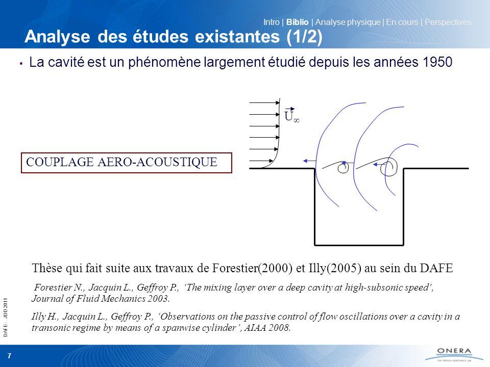 DAFE - JDD 2011 7 Analyse des études existantes (1/2) La cavité est un phénomène largement étudié depuis les années 1950 Intro | Biblio | Analyse phys