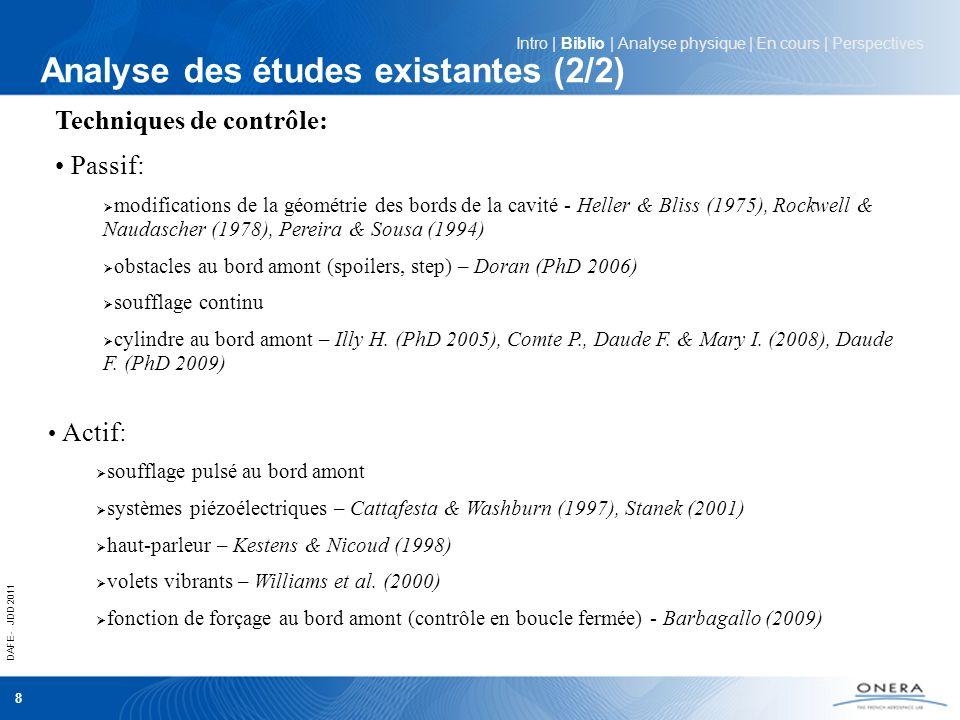 DAFE - JDD 2011 8 Analyse des études existantes (2/2) Intro | Biblio | Analyse physique | En cours | Perspectives Techniques de contrôle: Passif: modi