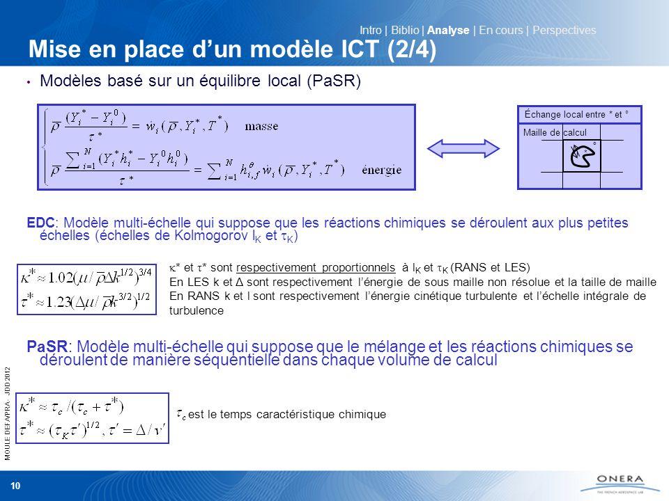 MOULE DEFA/PRA - JDD 2012 10 Mise en place dun modèle ICT (2/4) Modèles basé sur un équilibre local (PaSR) EDC: Modèle multi-échelle qui suppose que l