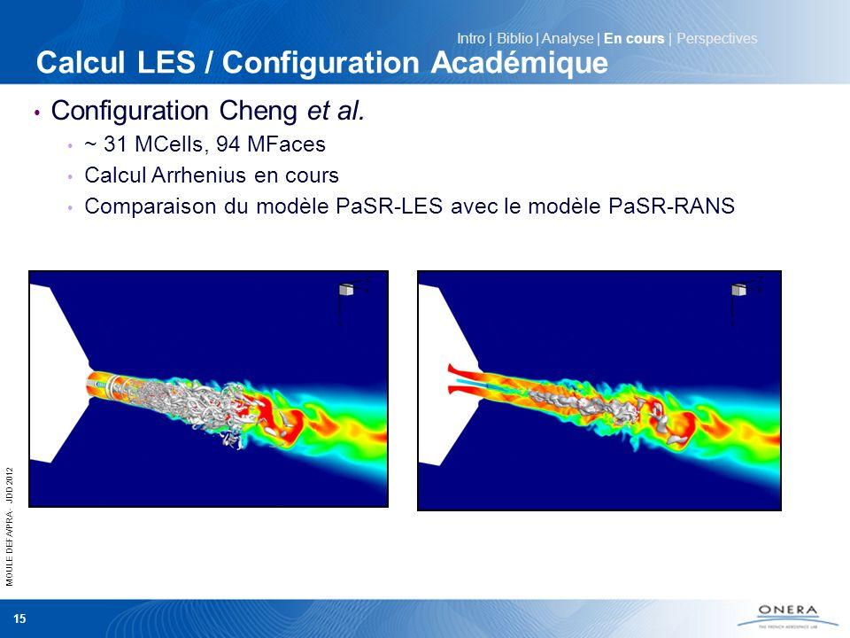 MOULE DEFA/PRA - JDD 2012 15 Intro | Biblio | Analyse | En cours | Perspectives Calcul LES / Configuration Académique Configuration Cheng et al. ~ 31