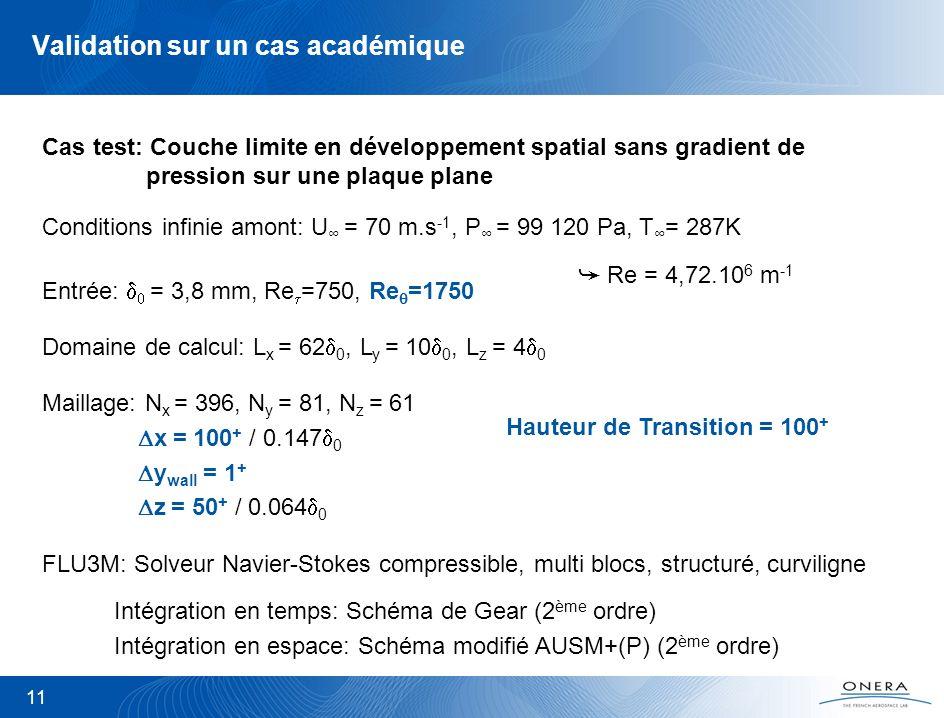 Validation sur un cas académique 11 Cas test: Couche limite en développement spatial sans gradient de pression sur une plaque plane Domaine de calcul: