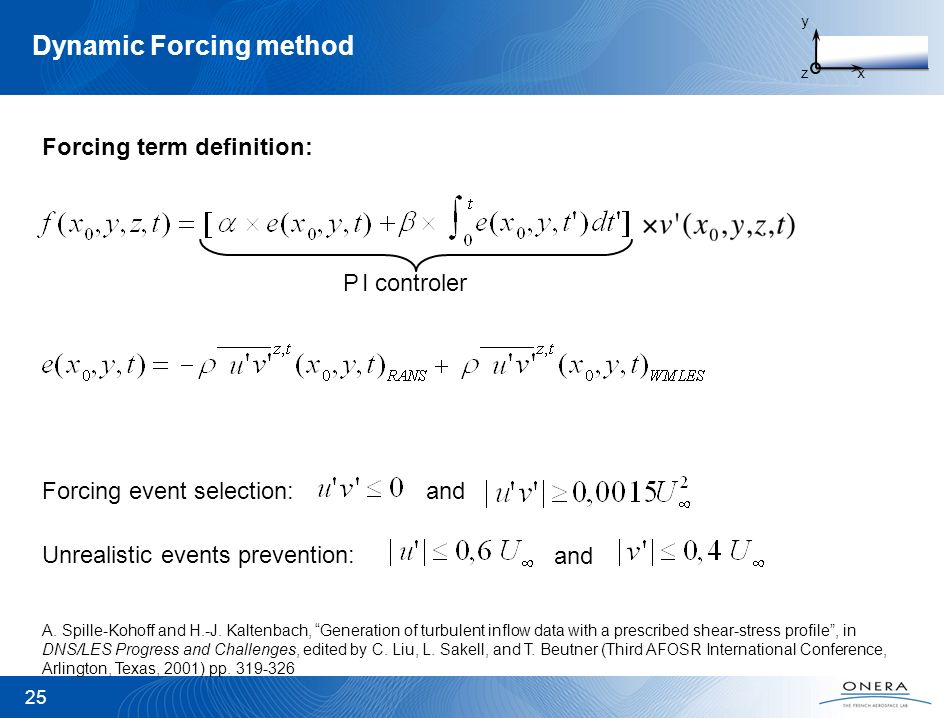 Dynamic Forcing method 25 y zx I controlerP A. Spille-Kohoff and H.-J. Kaltenbach, Generation of turbulent inflow data with a prescribed shear-stress