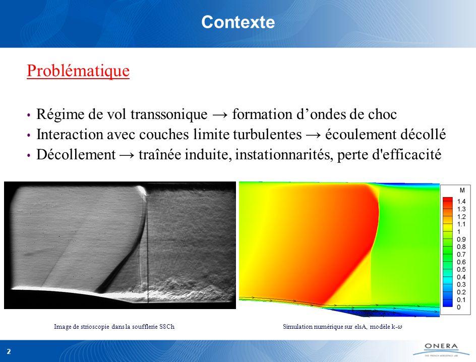 2 Contexte Problématique Régime de vol transsonique formation dondes de choc Interaction avec couches limite turbulentes écoulement décollé Décollement traînée induite, instationnarités, perte d efficacité Image de strioscopie dans la soufflerie S8Ch Simulation numérique sur elsA, modèle k-