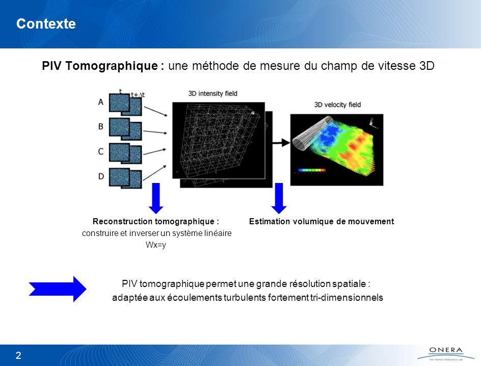 2 Contexte PIV Tomographique : une méthode de mesure du champ de vitesse 3D Reconstruction tomographique : construire et inverser un système linéaire