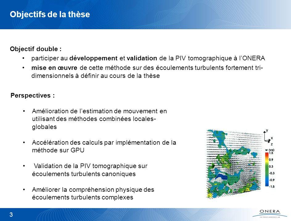 3 Objectifs de la thèse Objectif double : participer au développement et validation de la PIV tomographique à lONERA mise en œuvre de cette méthode su