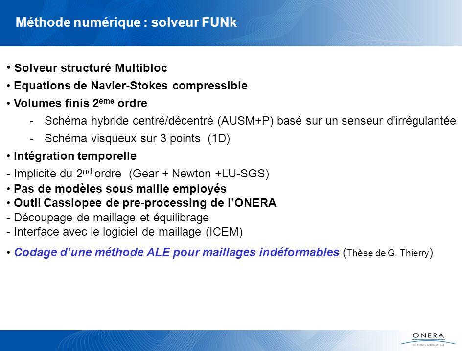 Méthode numérique : solveur FUNk Solveur structuré Multibloc Equations de Navier-Stokes compressible Volumes finis 2 ème ordre -Schéma hybride centré/