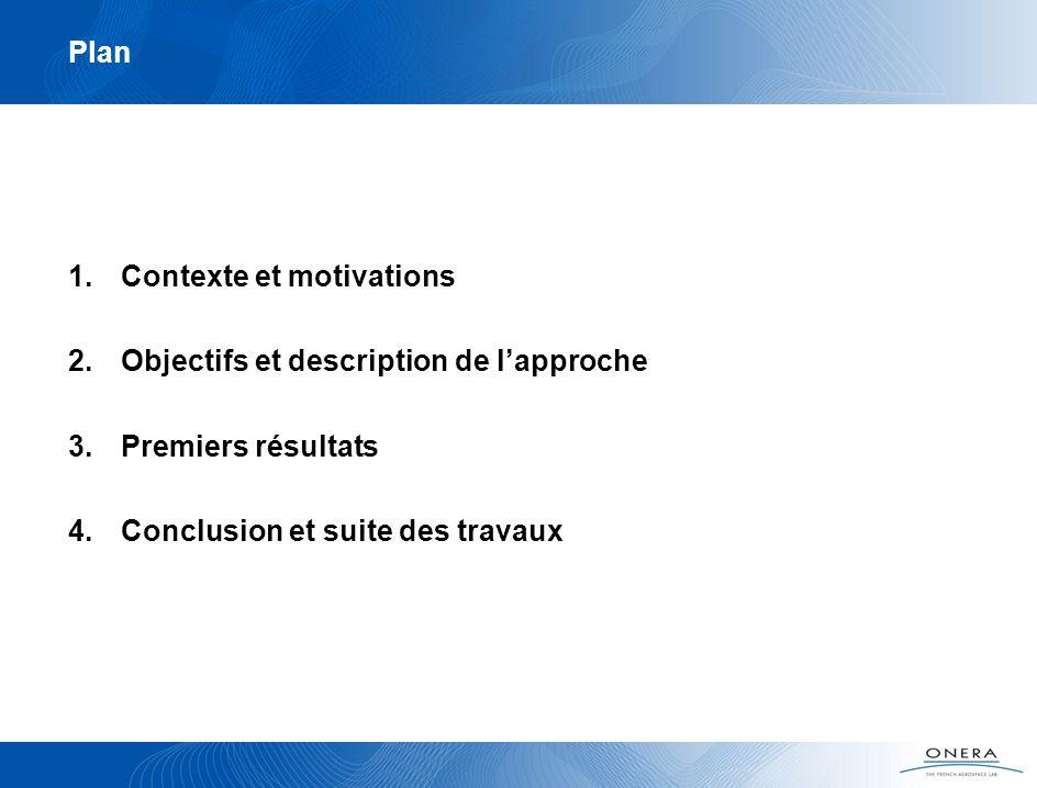 Plan 1.Contexte et motivations 2.Objectifs et description de lapproche 3.Premiers résultats 4.Conclusion et suite des travaux