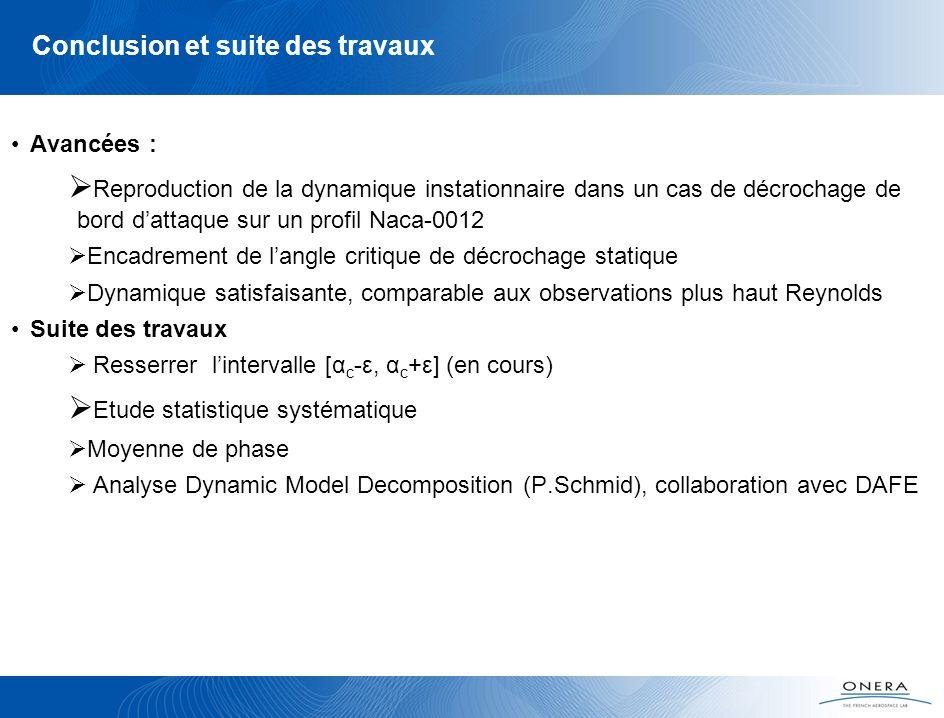 Conclusion et suite des travaux Avancées : Reproduction de la dynamique instationnaire dans un cas de décrochage de bord dattaque sur un profil Naca-0