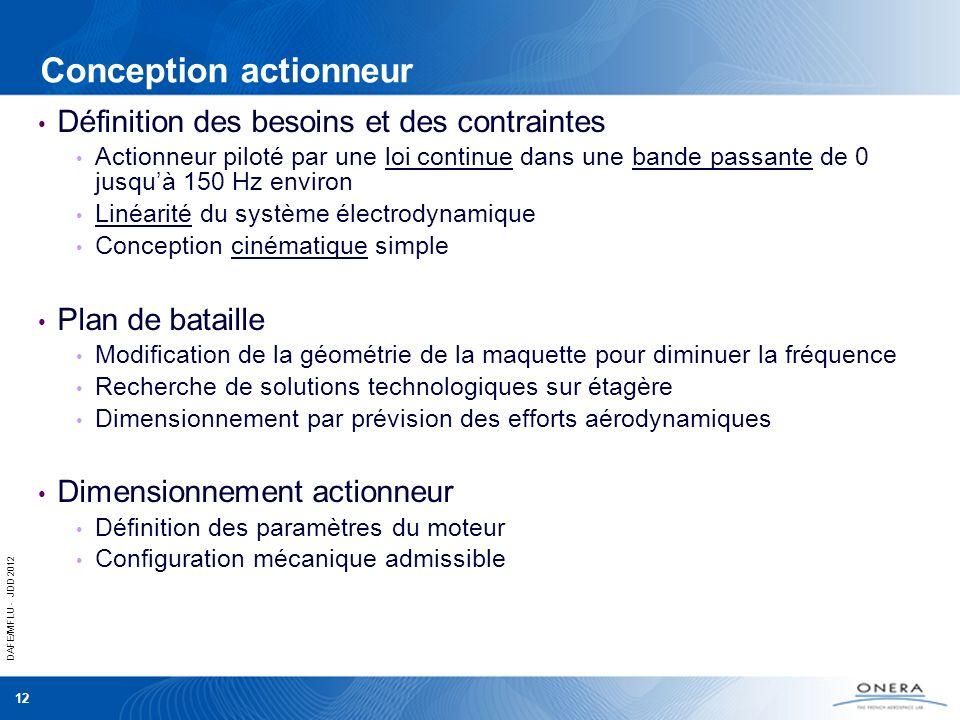 DAFE/MFLU - JDD 2012 12 Conception actionneur Définition des besoins et des contraintes Actionneur piloté par une loi continue dans une bande passante