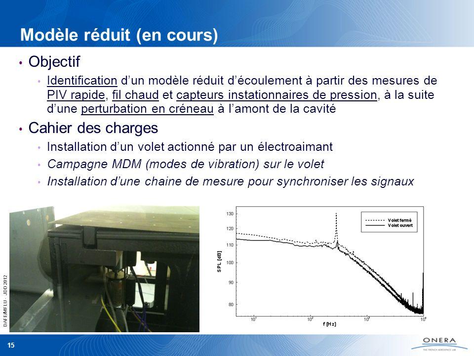 DAFE/MFLU - JDD 2012 15 Modèle réduit (en cours) Objectif Identification dun modèle réduit découlement à partir des mesures de PIV rapide, fil chaud e