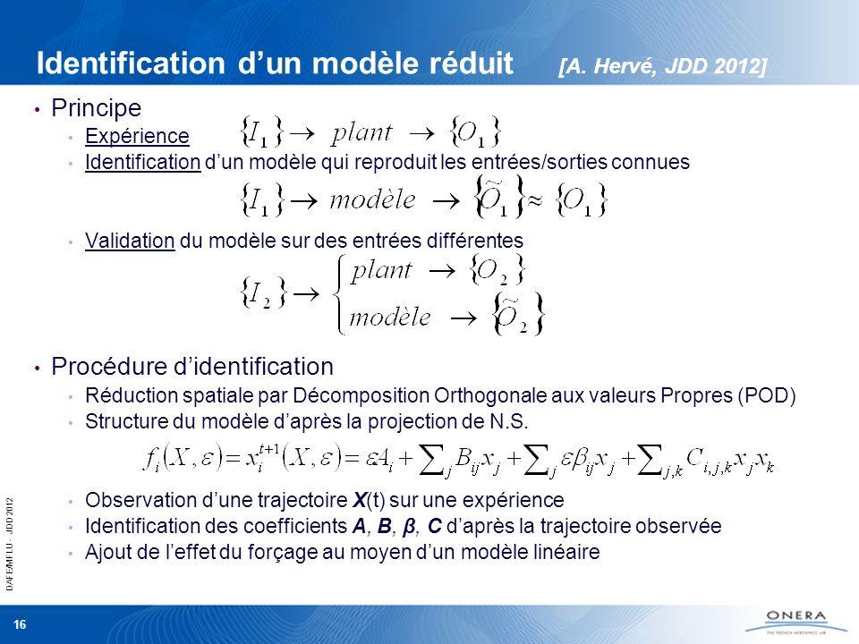 DAFE/MFLU - JDD 2012 16 Identification dun modèle réduit [A. Hervé, JDD 2012] Principe Expérience Identification dun modèle qui reproduit les entrées/