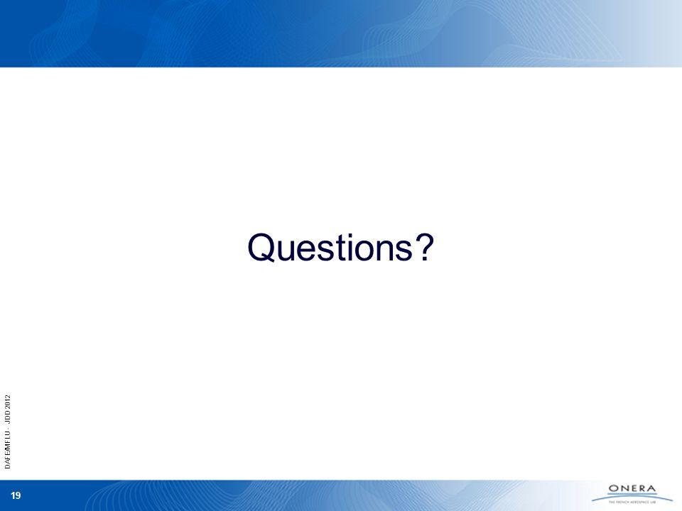 DAFE/MFLU - JDD 2012 19 Questions?