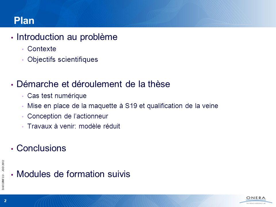 DAFE/MFLU - JDD 2012 2 Plan Introduction au problème Contexte Objectifs scientifiques Démarche et déroulement de la thèse Cas test numérique Mise en p