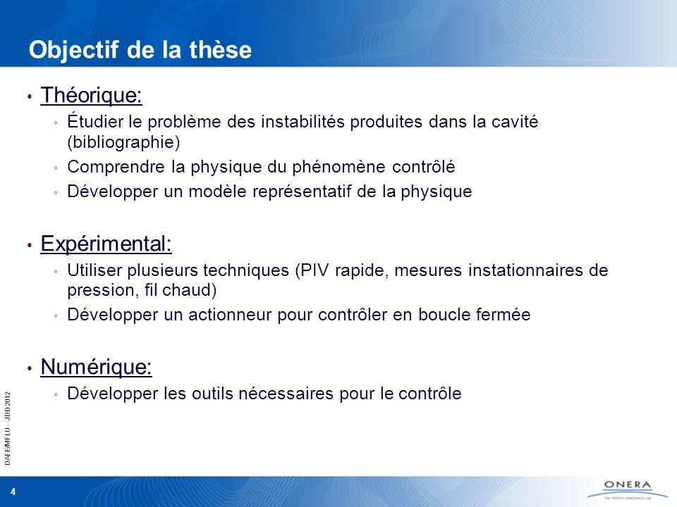 DAFE/MFLU - JDD 2012 4 Objectif de la thèse Théorique: Étudier le problème des instabilités produites dans la cavité (bibliographie) Comprendre la phy