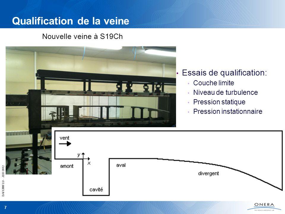 DAFE/MFLU - JDD 2012 7 Qualification de la veine Essais de qualification: Couche limite Niveau de turbulence Pression statique Pression instationnaire