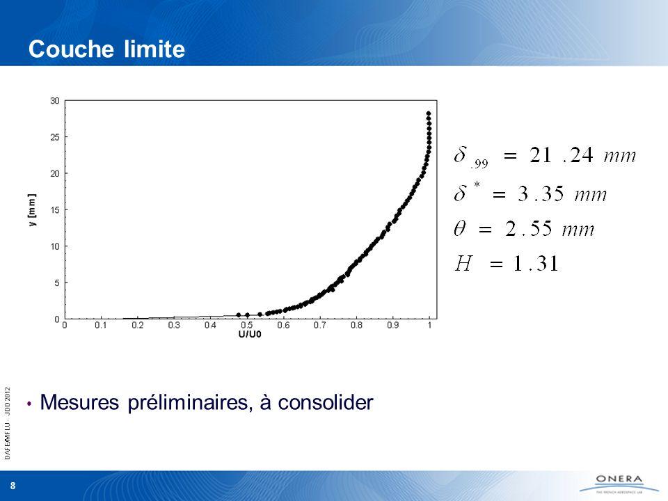 DAFE/MFLU - JDD 2012 8 Couche limite Mesures préliminaires, à consolider