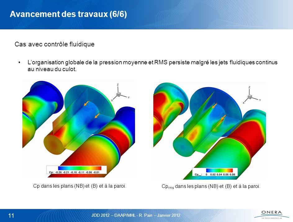 JDD 2012 – DAAP/MHL - R. Pain – Janvier 2012 11 Avancement des travaux (6/6) Cas avec contrôle fluidique Lorganisation globale de la pression moyenne