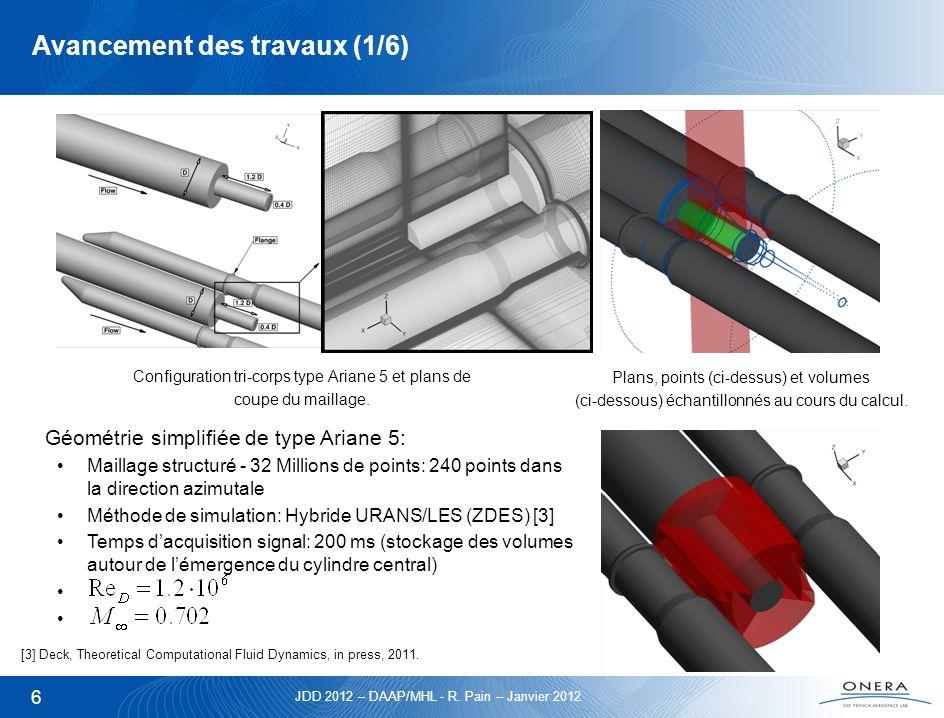 JDD 2012 – DAAP/MHL - R. Pain – Janvier 2012 6 Avancement des travaux (1/6) Géométrie simplifiée de type Ariane 5: Maillage structuré - 32 Millions de