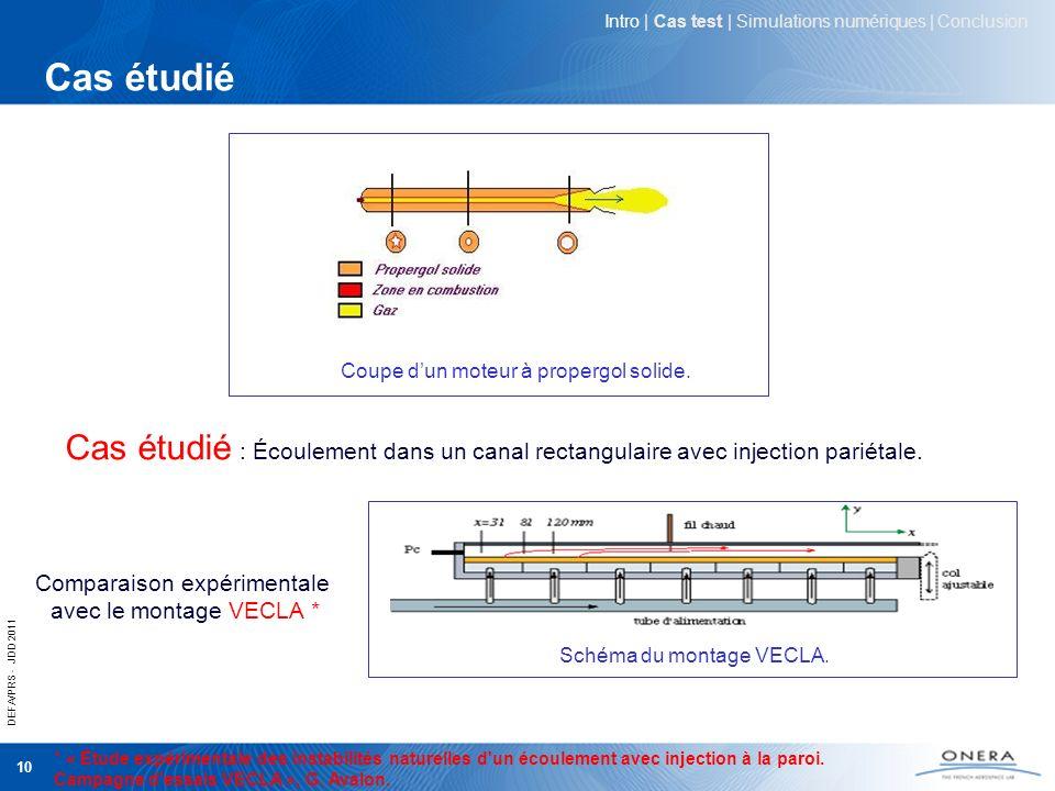 DEFA/PRS - JDD 2011 10 Cas étudié Coupe dun moteur à propergol solide. Cas étudié : Écoulement dans un canal rectangulaire avec injection pariétale. C