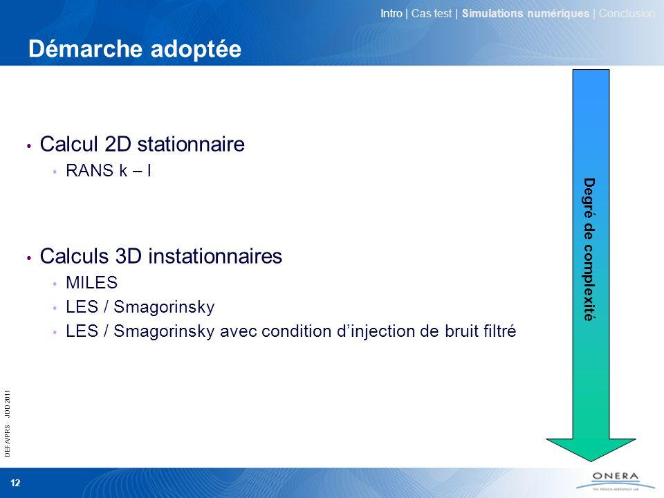 DEFA/PRS - JDD 2011 12 Démarche adoptée Calcul 2D stationnaire RANS k – l Calculs 3D instationnaires MILES LES / Smagorinsky LES / Smagorinsky avec co