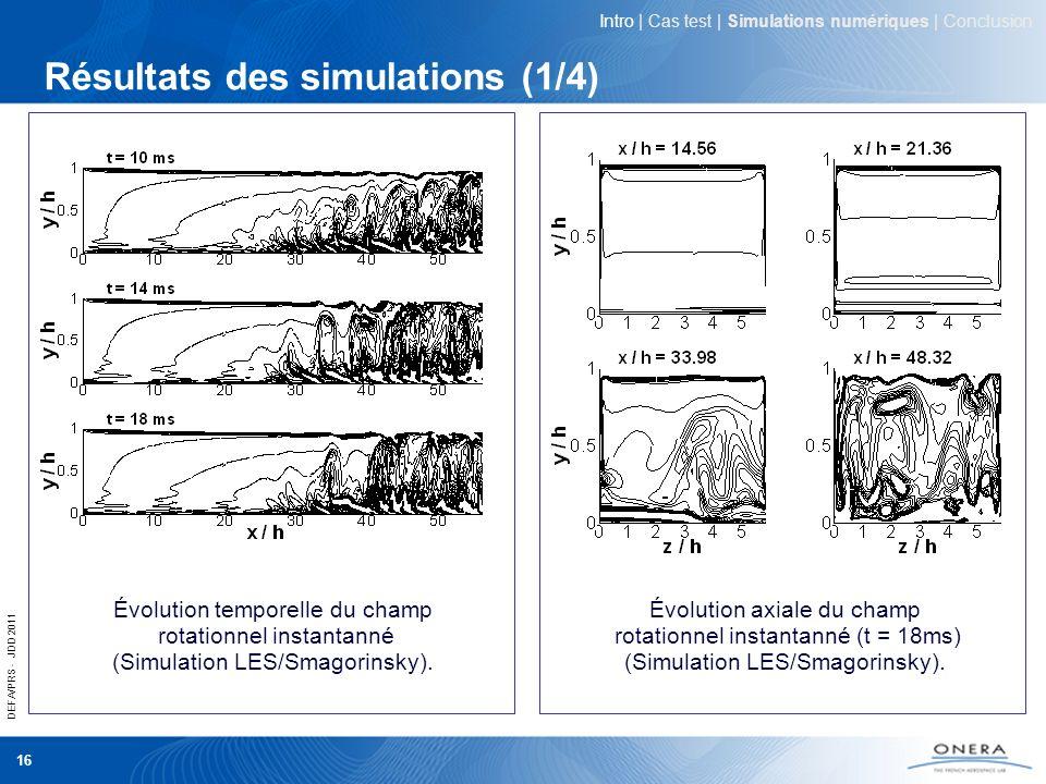 DEFA/PRS - JDD 2011 16 Résultats des simulations (1/4) Intro | Cas test | Simulations numériques | Conclusion Évolution temporelle du champ rotationne