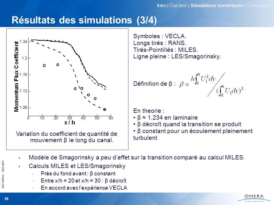 DEFA/PRS - JDD 2011 18 Résultats des simulations (3/4) Intro | Cas test | Simulations numériques | Conclusion Variation du coefficient de quantité de