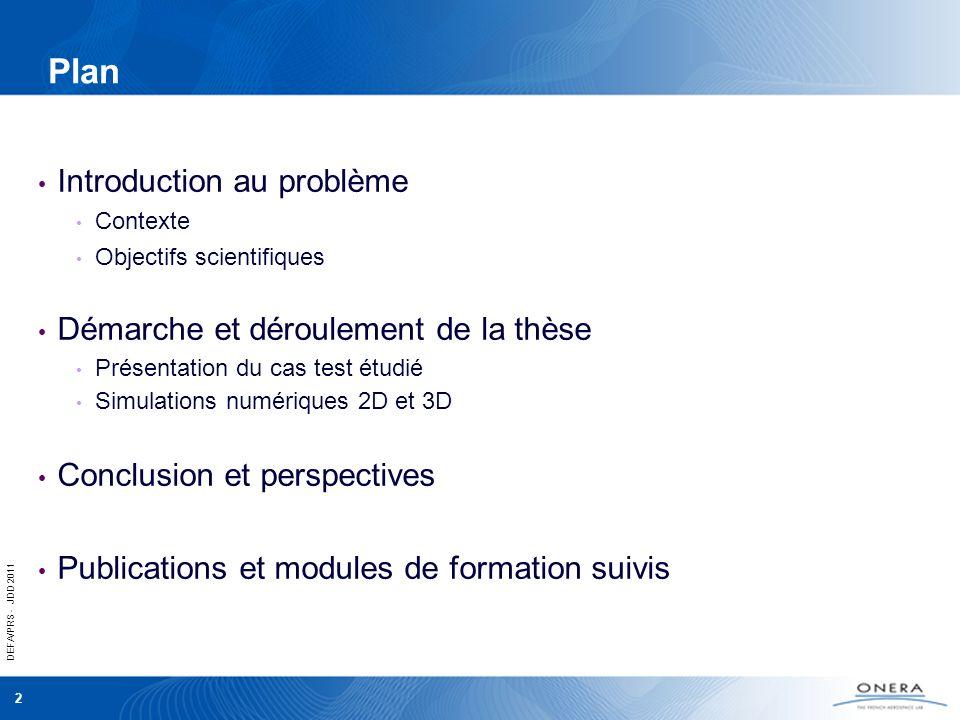 DEFA/PRS - JDD 2011 3 Introduction au problème Contexte Objectifs scientifiques Démarche et déroulement de la thèse Présentation du cas test étudié Simulations numériques 2D et 3D Conclusion et perspectives Publications et modules de formation suivis