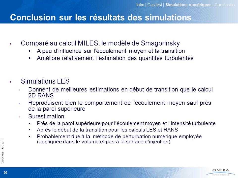 DEFA/PRS - JDD 2011 20 Conclusion sur les résultats des simulations Comparé au calcul MILES, le modèle de Smagorinsky A peu dinfluence sur lécoulement