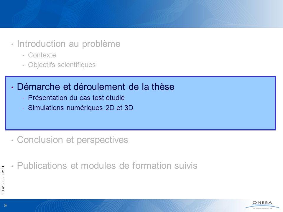 DEFA/PRS - JDD 2011 9 Introduction au problème Contexte Objectifs scientifiques Démarche et déroulement de la thèse Présentation du cas test étudié Si