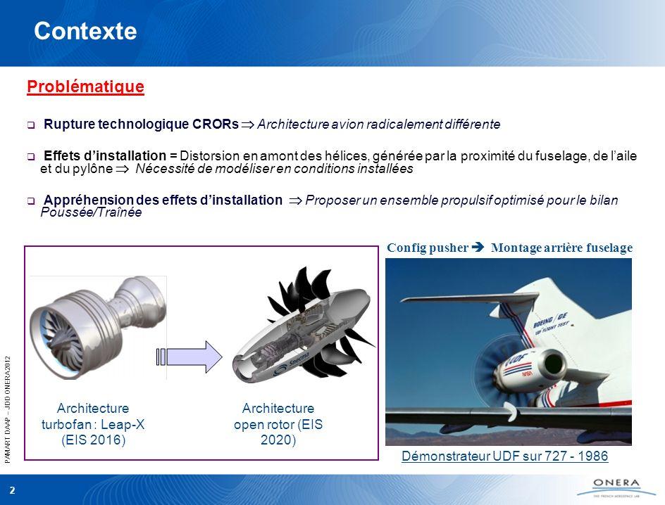 PAMART DAAP – JDD ONERA 2012 2 Contexte Problématique Rupture technologique CRORs Architecture avion radicalement différente Effets dinstallation = Distorsion en amont des hélices, générée par la proximité du fuselage, de laile et du pylône Nécessité de modéliser en conditions installées Appréhension des effets dinstallation Proposer un ensemble propulsif optimisé pour le bilan Poussée/Traînée Architecture turbofan : Leap-X (EIS 2016) Architecture open rotor (EIS 2020) Config pusher Montage arrière fuselage Démonstrateur UDF sur 727 - 1986
